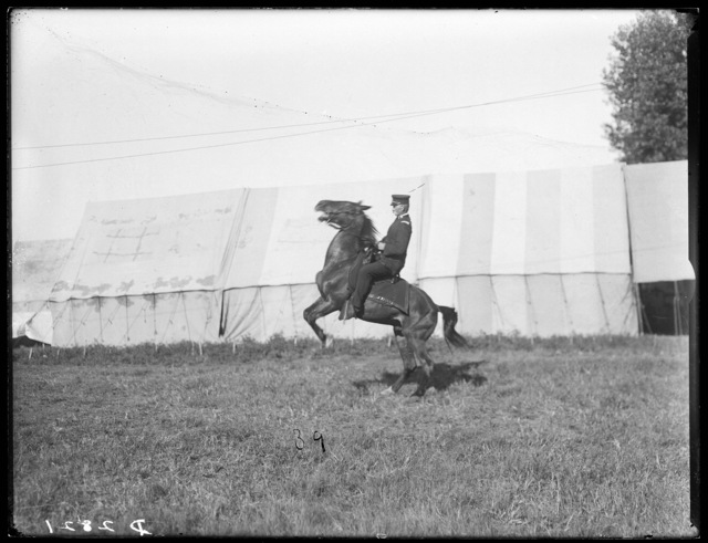 Captain Davis of the Nebraska National Guard on horseback.