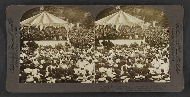 Cardinal Gibbons delivering his address to C.T.A.U. delegates and United Mine Workers of America, Wilkes-Barre, Pa., Aug. 10, 1905.