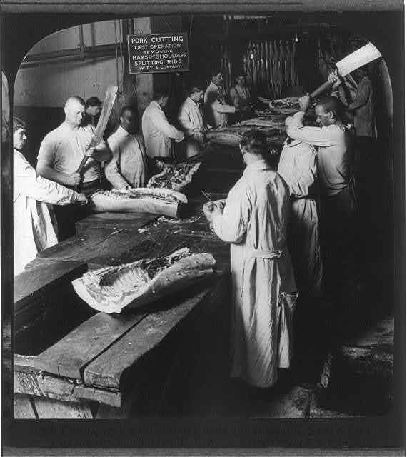 Chicago - Meat Packing Industry - Swift & Co.'s Packing House: cutting up hogs, removing hams and shoulders