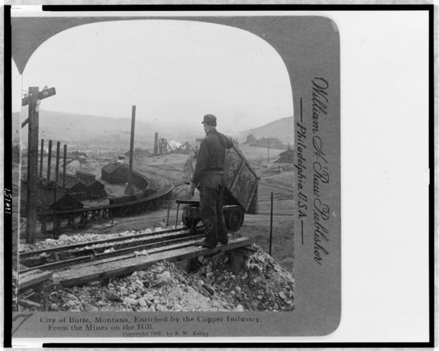 City of Butte, Montana enriched by the copper industry, from the mines on the hill