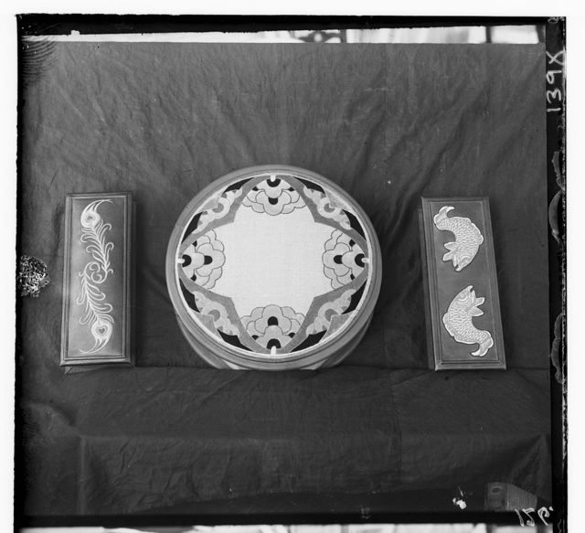 [Decorated objects made of leather and cloth]