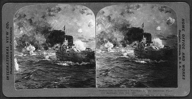 Destruction of Cervera's warships by the American fleet off Santiago, Cuba, July 3rd, 1898