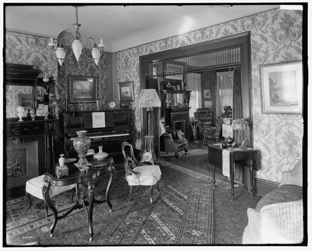 [Douglas residence, parlors with arch between, Detroit, Mich.]