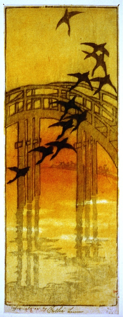 [Ducks flying over bridge] / Bertha Lum