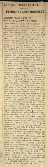 Elizabeth Murray Walling to the Editor of the Deocrate and Chronicle