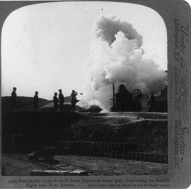 Enormous 11-inch shell from Japanese seige gun, beginning its deadly flight into Port Arthur