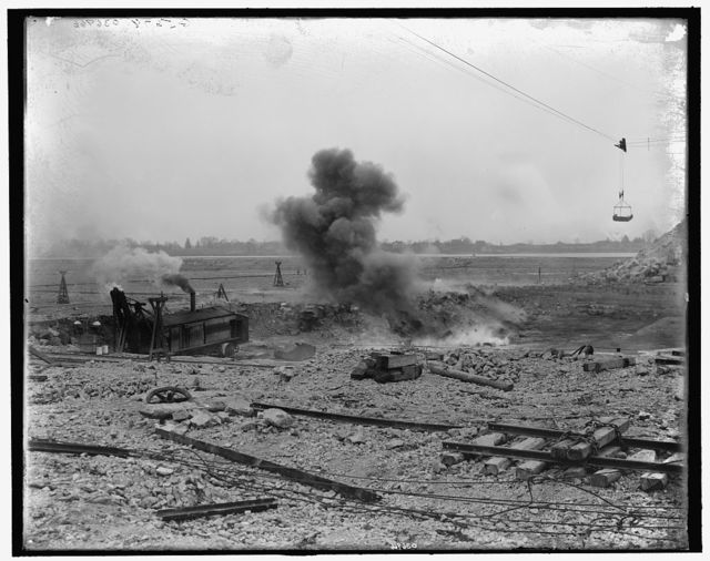 [Exploding 800 lbs. of dynamite, Livingstone Channel, Mich.]