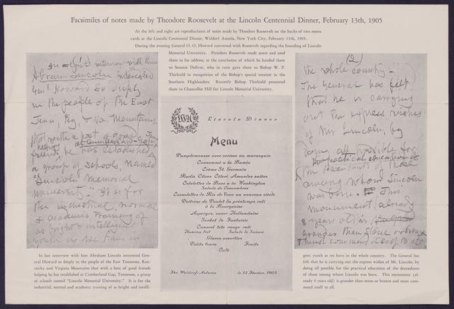 Facsimiles of notes made by Theodore Roosevelt at the Lincoln centennial dinner, February 13th, 1905.