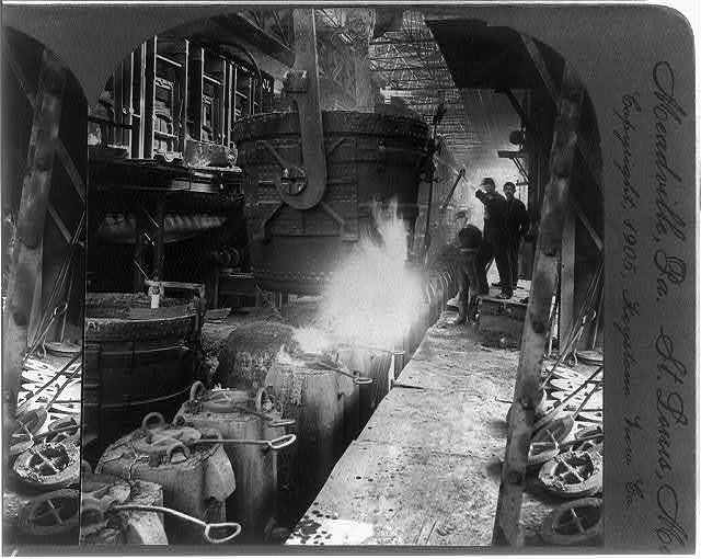 Filling moulds with steel, Pittsburg, Pa.