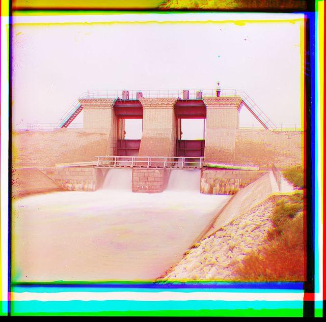 [Floodgates at dam facility]