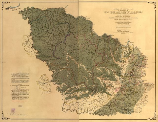 General and regional map of that portion of the New River and Kanawha coal fields lying between the New, Kanawha and Guyandot Rivers and west of Piney Creek.