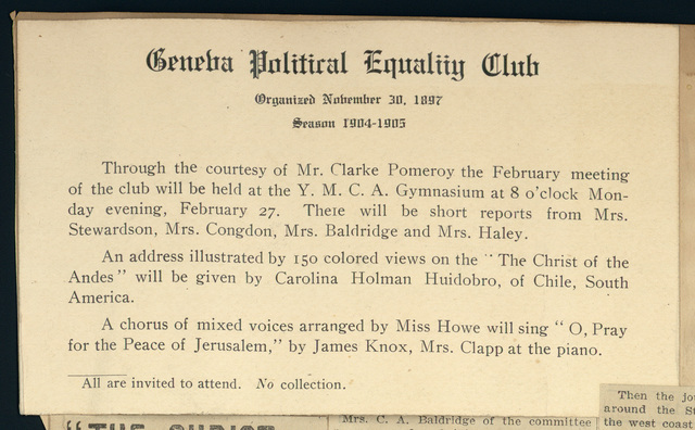Geneva Political Equality Club meeting notice, Y.M.C.A.