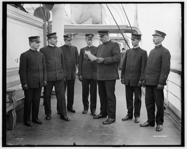 [Group of officers on deck, Greenwich, Conn.]