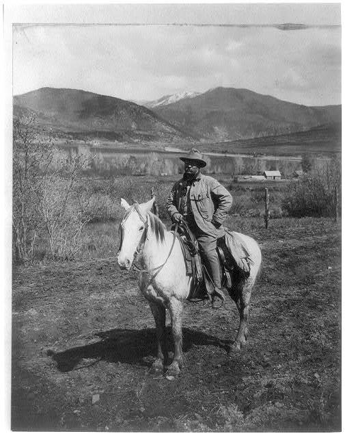 Happy and hardy after his bear hunt - President Theodore Roosevelt returning to Glenwood Springs, Colorado
