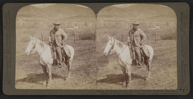 Happy and healthy after his bear hunt - President Roosevelt returning to Glenwood Springs, Colorado