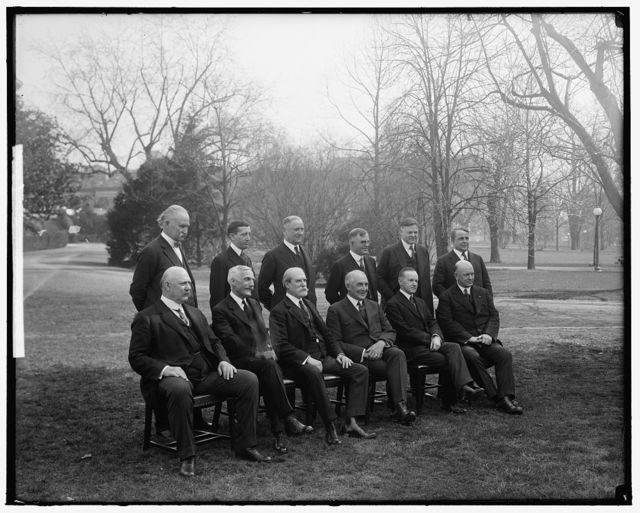 HARDING, WARREN G. WITH CABINET. OUTDOORS