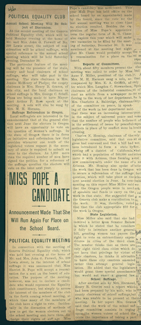 Harriet B. Pope a Candidate for School Board