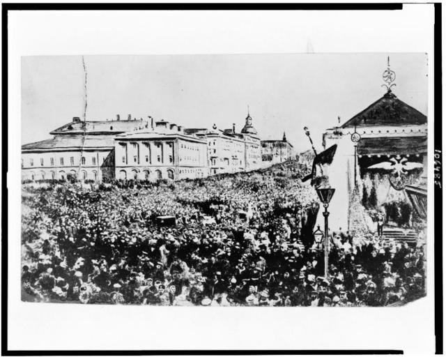 Holiday crowd in Moscow celebrating the Declaration of Liberty by the Czar