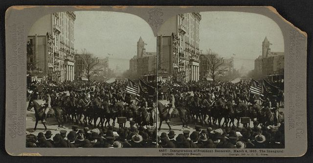 Inauguration of President Roosevelt, March 4, 1905. The inaugural parade. Cavalry escort