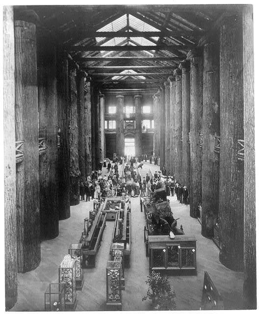 [Interior of Forestry Bldg. at the Lewis and Clark Centennial, Portland, Ore., 1905. Displays; pillars of huge trees, stuffed animals]