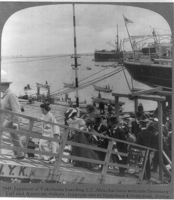 Japanese of Yokahama boarding SS MANCHURIA to welcome Secretary Taft and American visitors