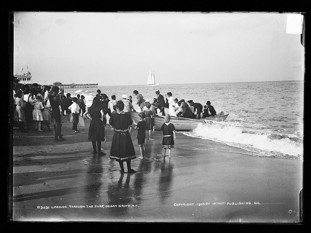 Landing through the surf, Ocean Grove, N.J.