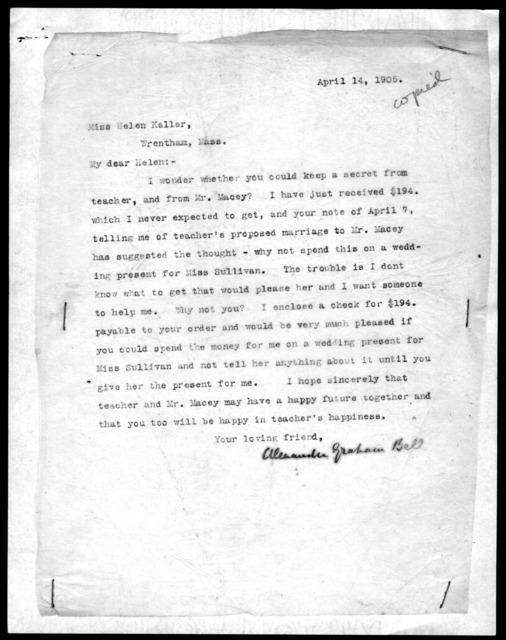 Letter from Alexander Graham Bell to Helen Keller, April 14, 1905