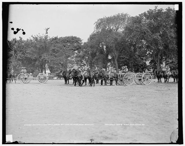 Light artillery drill, Horse Battery, at ease, [United States Military Academy], West Point, N.Y.