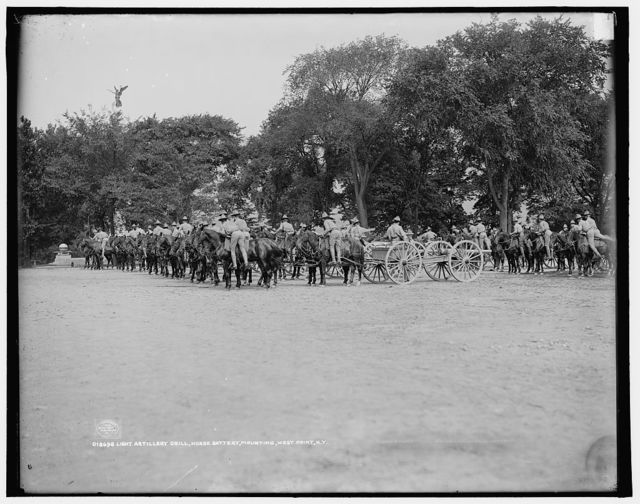 Light artillery drill, Horse Battery, mounting, [United States Military Academy], West Point, N.Y.