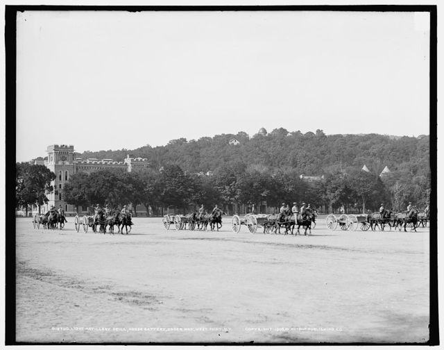 Light artillery drill, Horse Battery, under way, [United States Military Academy], West Point, N.Y.