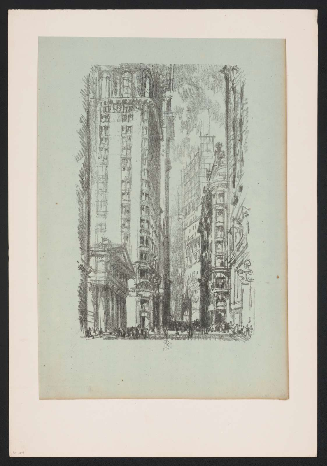 Lithographs of New York in 1904 drawn by Joseph Pennell. No. 6, Pine Street J. Pennell