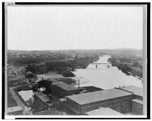 [Manchester, New Hampshire, including the Merrimack River and railroad yard]