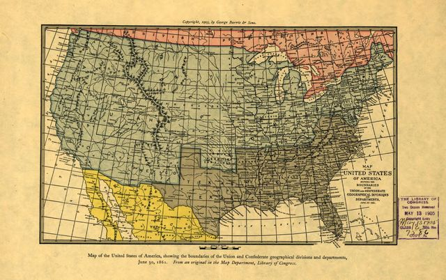 Map of the United States of America showing the boundaries of the Union and Confederate geographical divisions and departments, June 30, 1861.