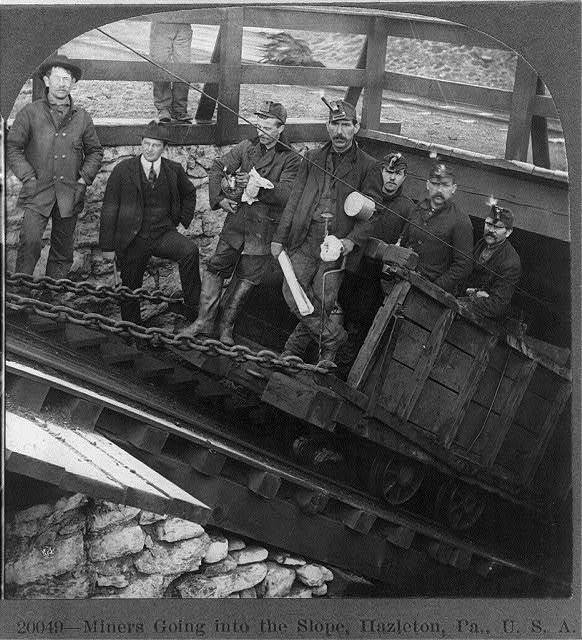 Miners Going into the Slope, Hazelton, Pa.