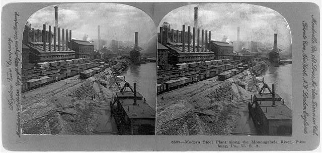 Modern steel plant along the Monongahela River, Pittsburg, Pa., U.S.A.