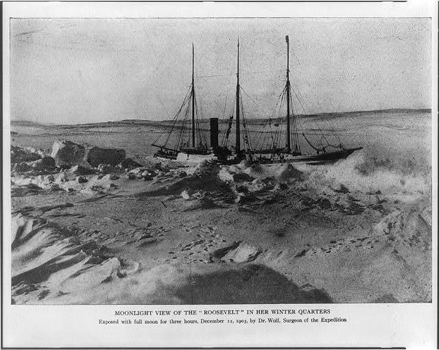 """Moonlight view of the """"Roosevelt"""" in her winter quarters exposed with full moon for three hours, December 12, 1905, by Dr. Wolf, surgeon of the expedition."""