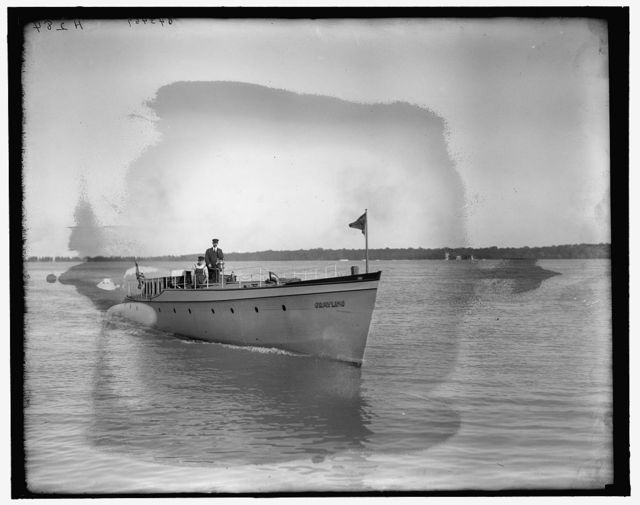 [Motor boat Grayling, bow view]