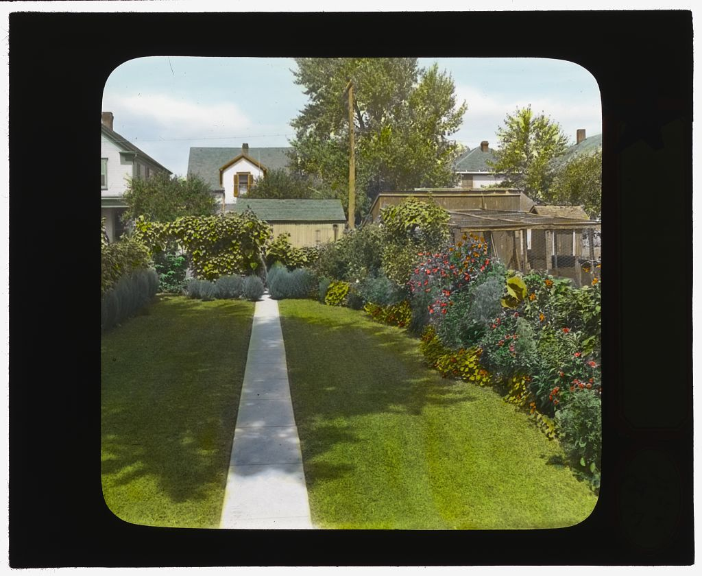 [National Cash Register Company, Dayton, Ohio. Workers garden with pathway  after landscaping] - National Cash Register Company, Dayton, Ohio. Workers Garden With