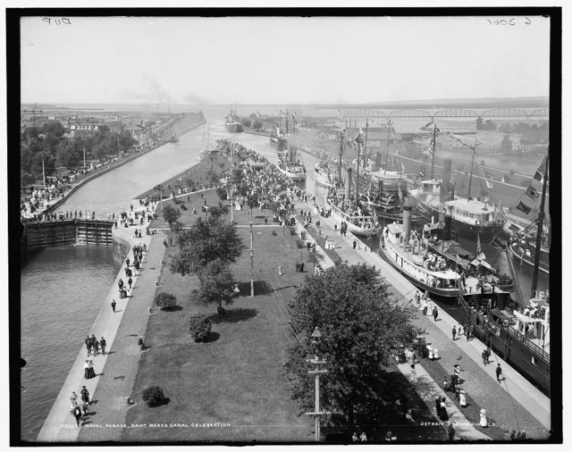 Naval parade, Saint Mary's [sic] Canal celebration, Sault Ste. Marie, Mich.