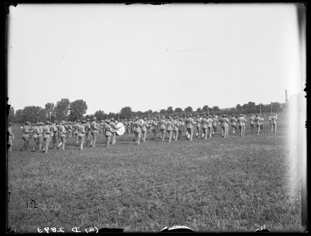 Nebraska National Guard band marching at Kearney, Nebraska.