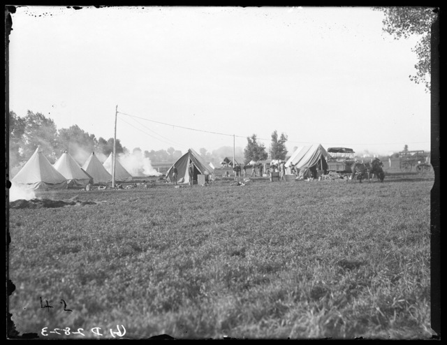 Nebraska National Guard setting up camp at Kearney, Nebraska