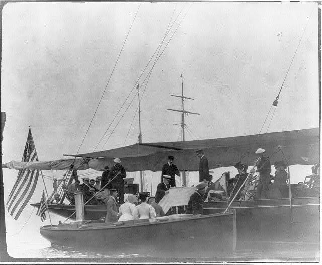 [New York - Oyster Bay, Long Island Yacht Club: guests boarding yacht from launch]