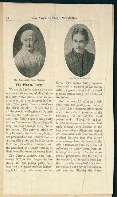 New York Suffrage Newsletter: Piazza Party at Lochland