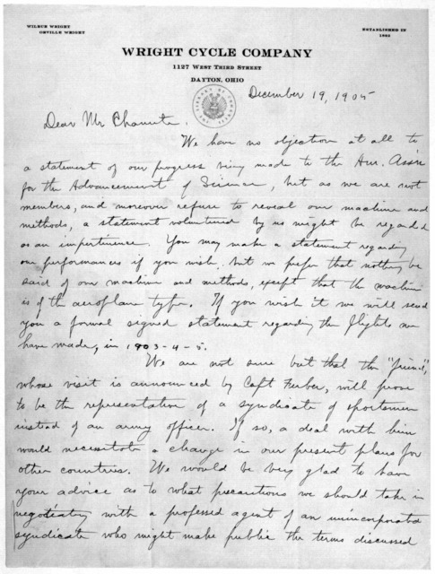 Octave Chanute Papers:  Special Correspondence--Wright Brothers, 1905