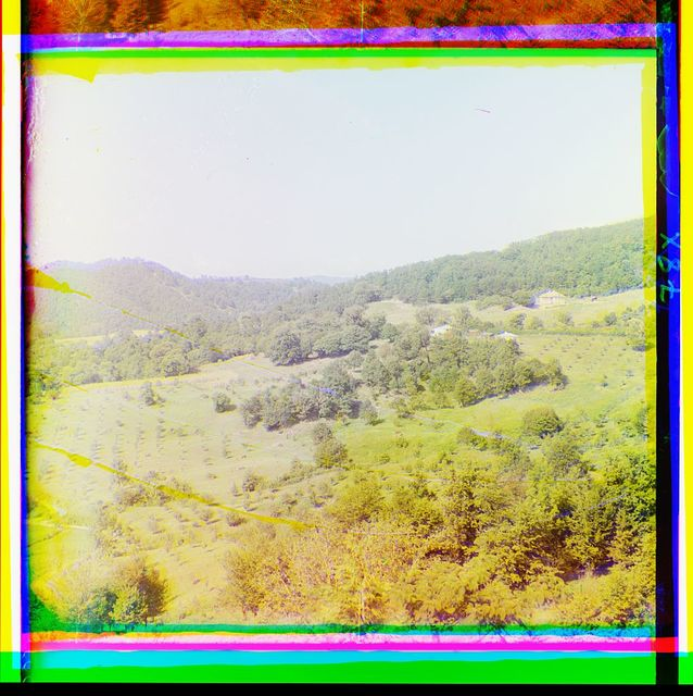 [Orchard and buildings on a hillside]