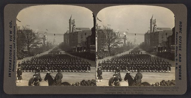 Our future admirals in imposing procession - Annapolis Naval cadets on Pennsylvania Ave., inaugural parade,  Washington, D.C. / International View Co.