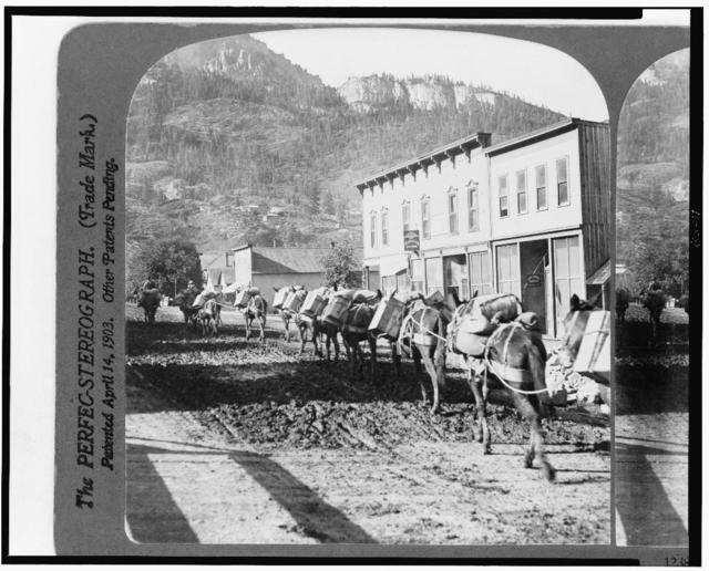 Pack train leaving Ouray with supplies for the mines, Colorado, U.S.A.