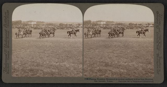 Passing President Roosevelt in review - military at Fort Sam Houston, San Antonio, Texas
