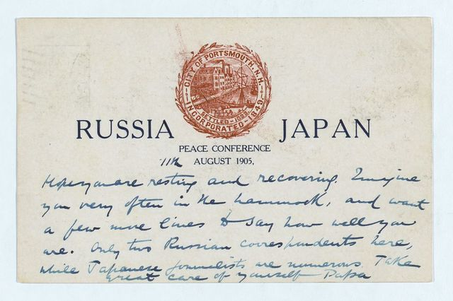 "[Postcard with printed words ""Russia, Japan, Peace Conference, August 1905"" and stamped with the seal of the city of Portsmouth, N.H.]"