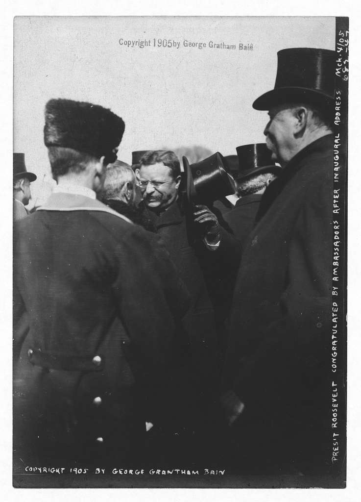 President Roosevelt congratulated by Ambassador after inaugural address